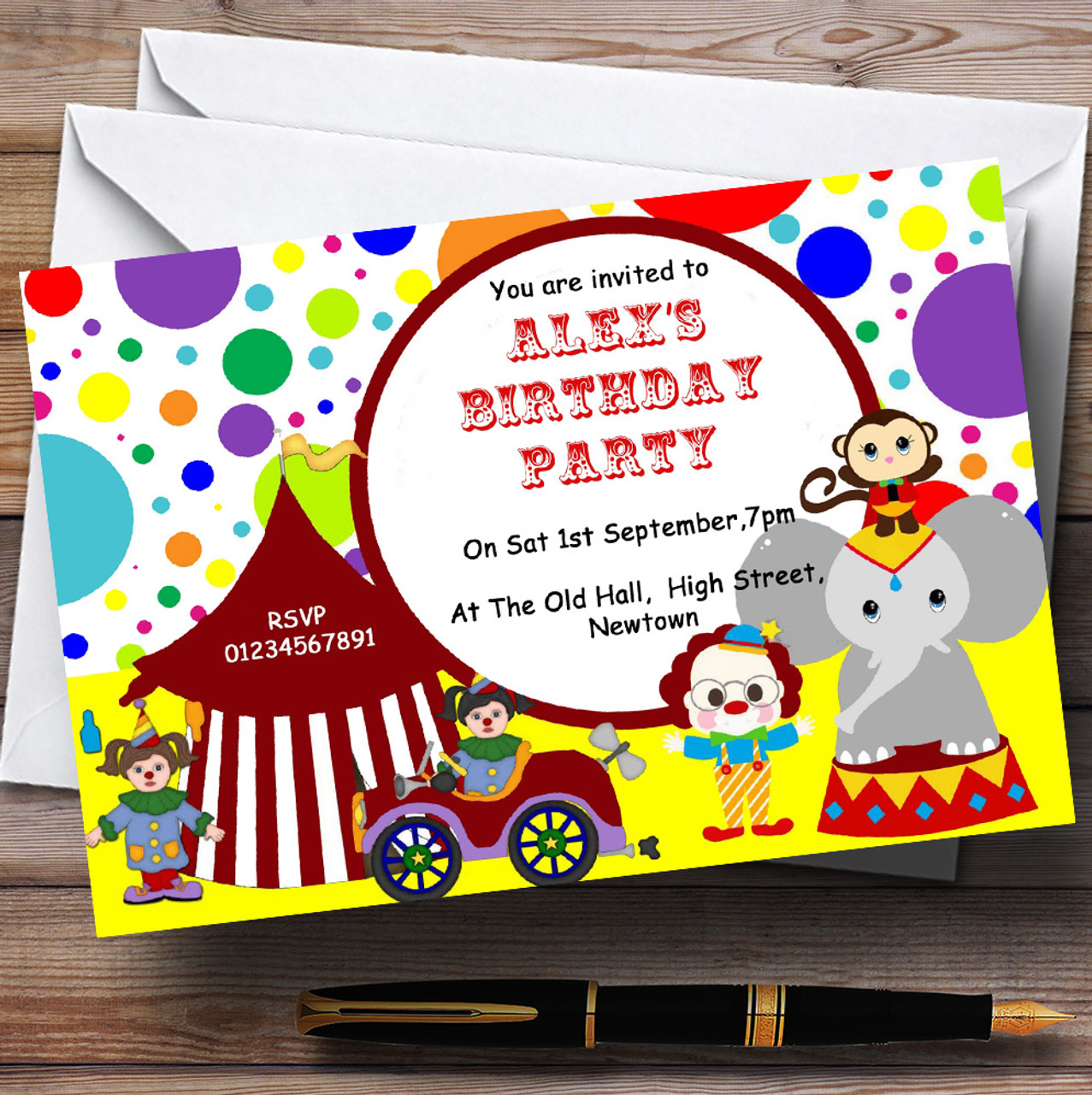 Colourful circus theme personalised birthday party invitations colourful circus theme personalised birthday party invitations stopboris Gallery