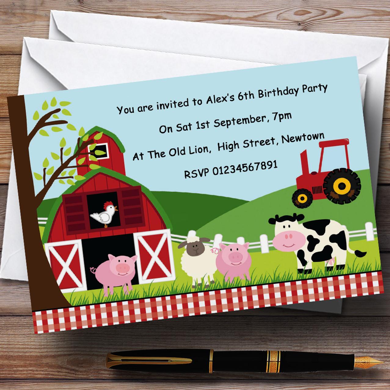 Farm Animals Farmyard Theme Personalised Birthday Party Invitations ...