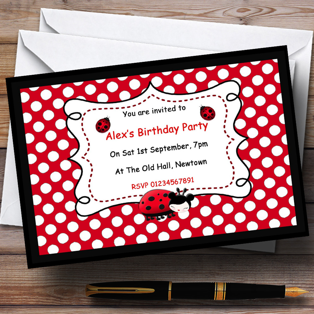 Ladybird Theme Personalised Birthday Party Invitations - The Card Zoo