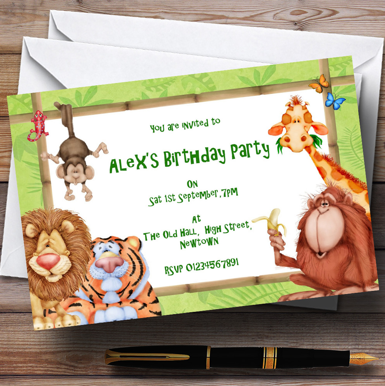 Lion, Tiger And Jungle Friends Theme Personalised Birthday Party ...