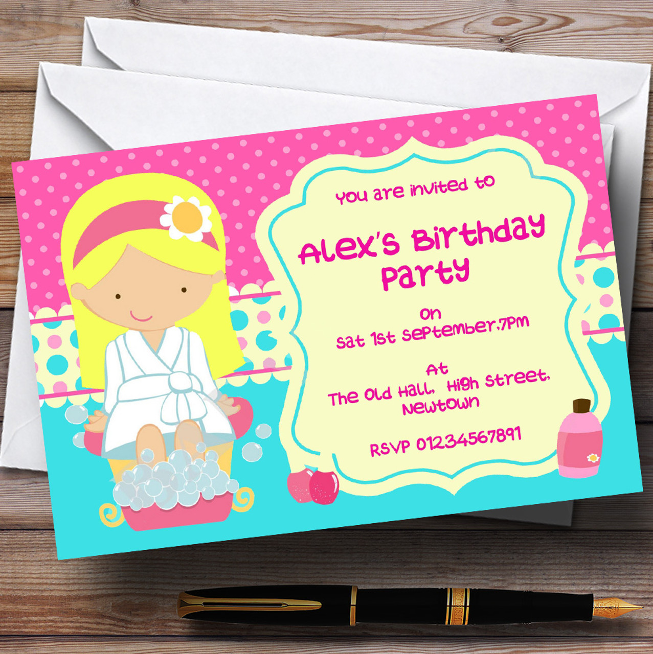Makeover Nail Spa Theme Personalised Birthday Party Invitations ...