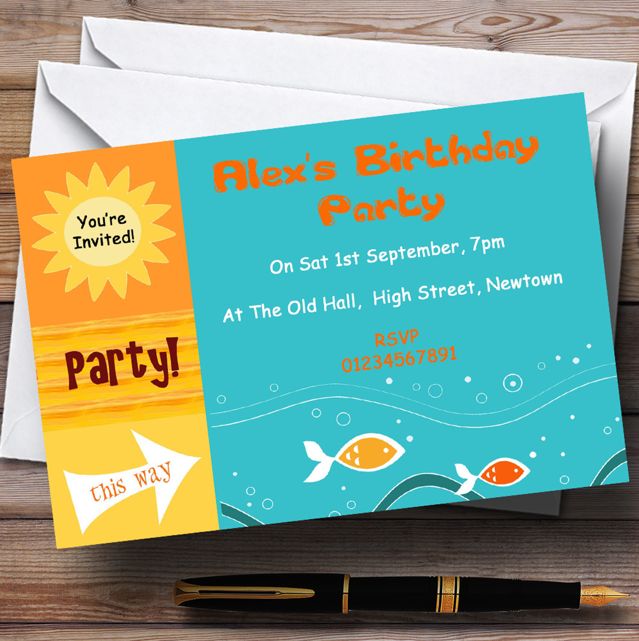 Sunny Beach Swimming Pool Theme Personalised Birthday Party Invitations