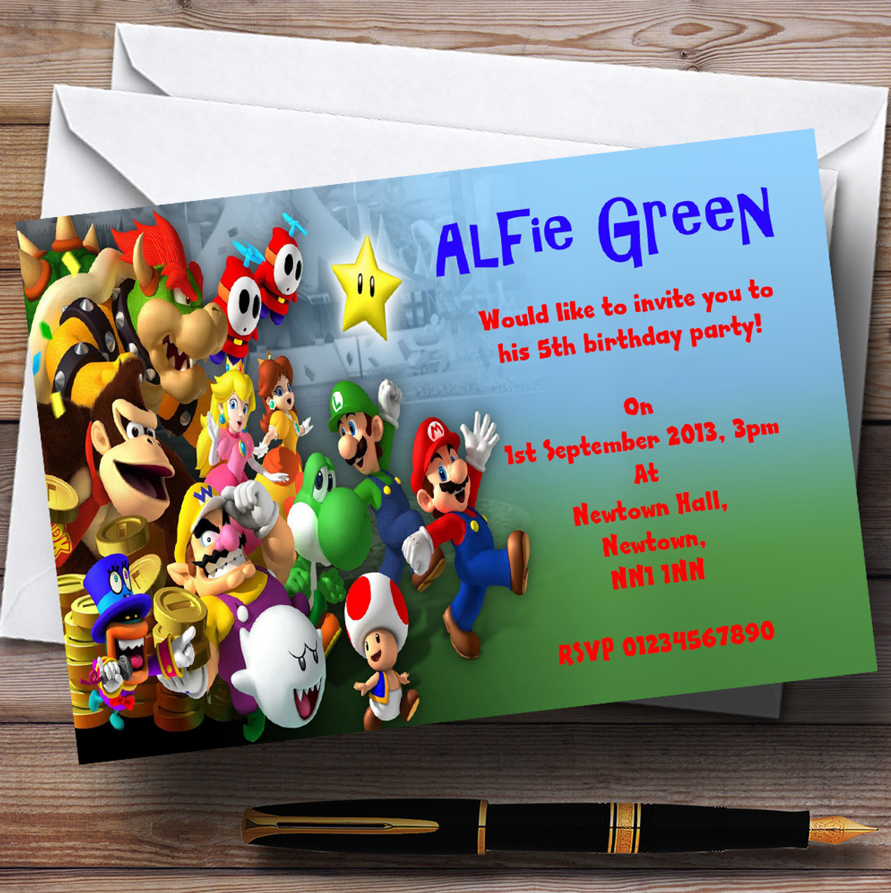Super mario bros luigi nintendo personalised childrens party super mario bros luigi nintendo personalised childrens party invitations monicamarmolfo Gallery