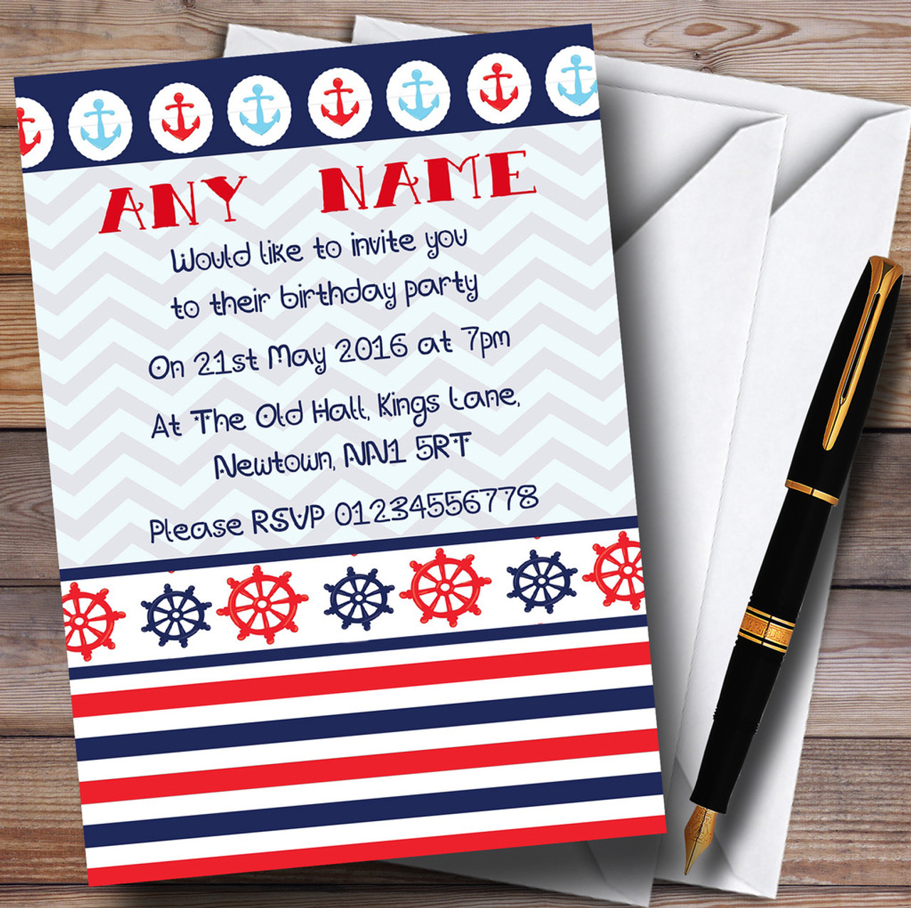 Nautical Boat Anchor Sailor Sea Personalised Children\'s Birthday ...