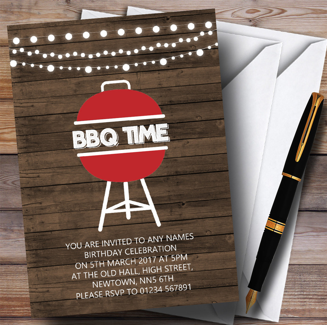 Wood BBQ Time Children\'s Birthday Party Invitations - The Card Zoo