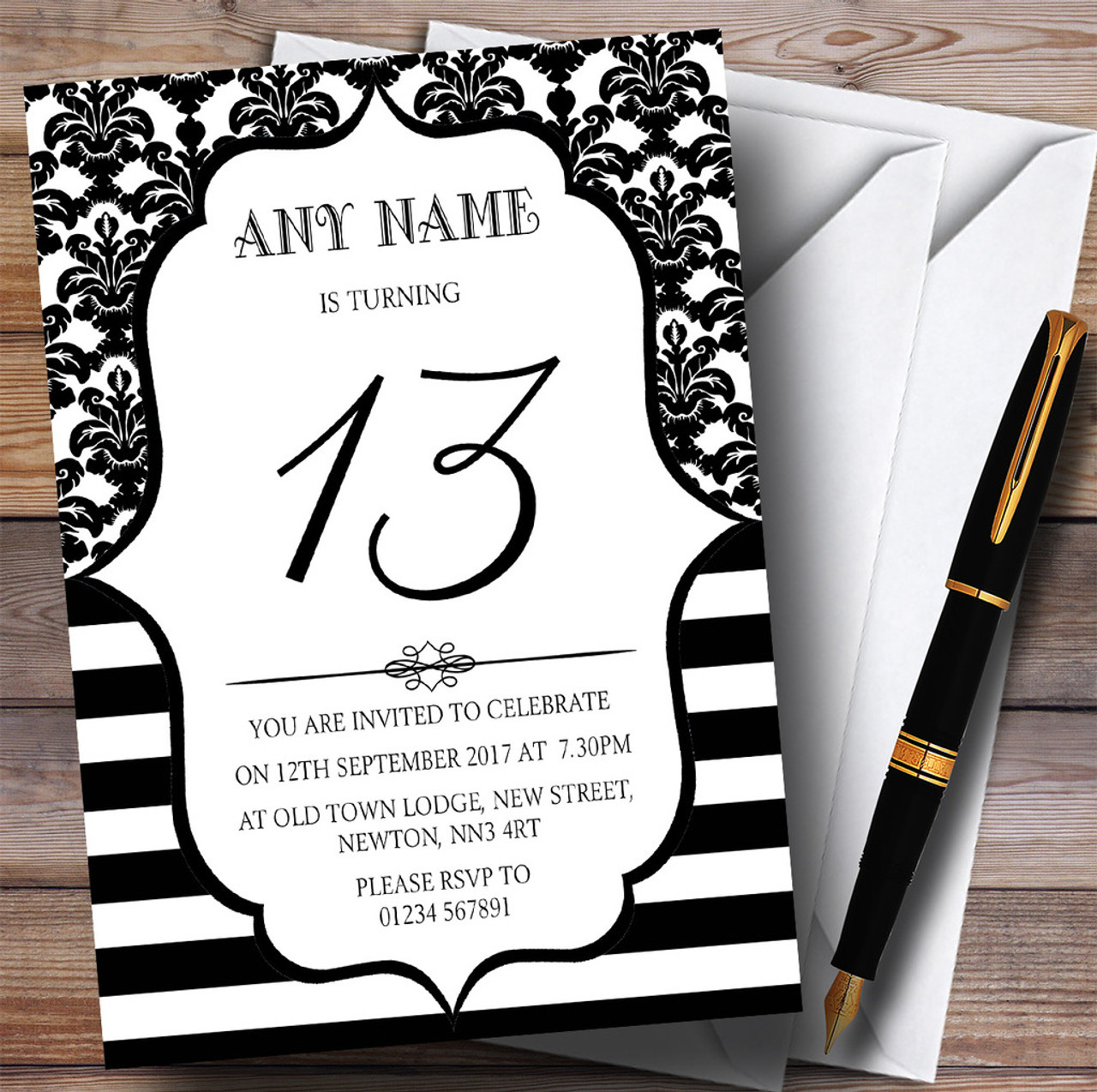 Vintage Damask Black & White 13th Personalised Birthday Party ...