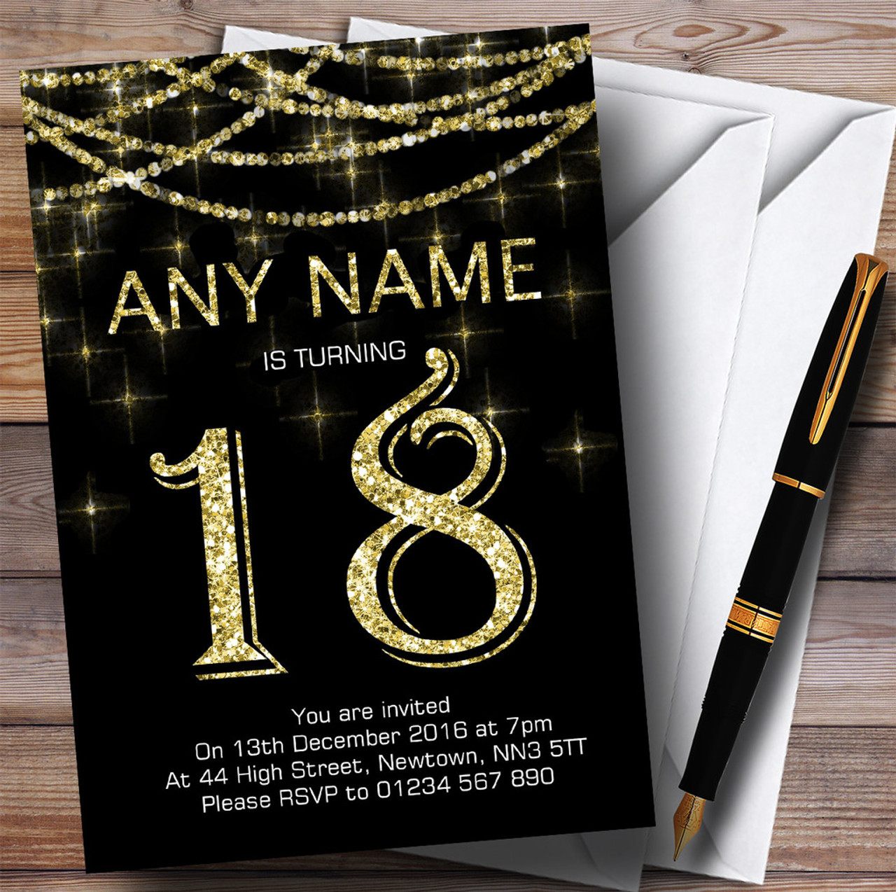 Black & Gold Sparkly Garland 18th Personalised Birthday Party ...