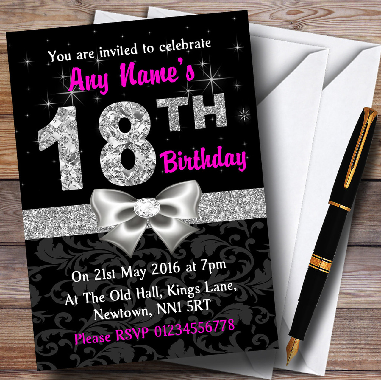 Pink Black Silver Diamond 18Th Birthday Party Personalised ...