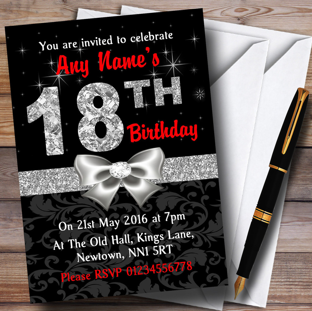 Red Black Silver Diamond 18Th Birthday Party Personalised ...