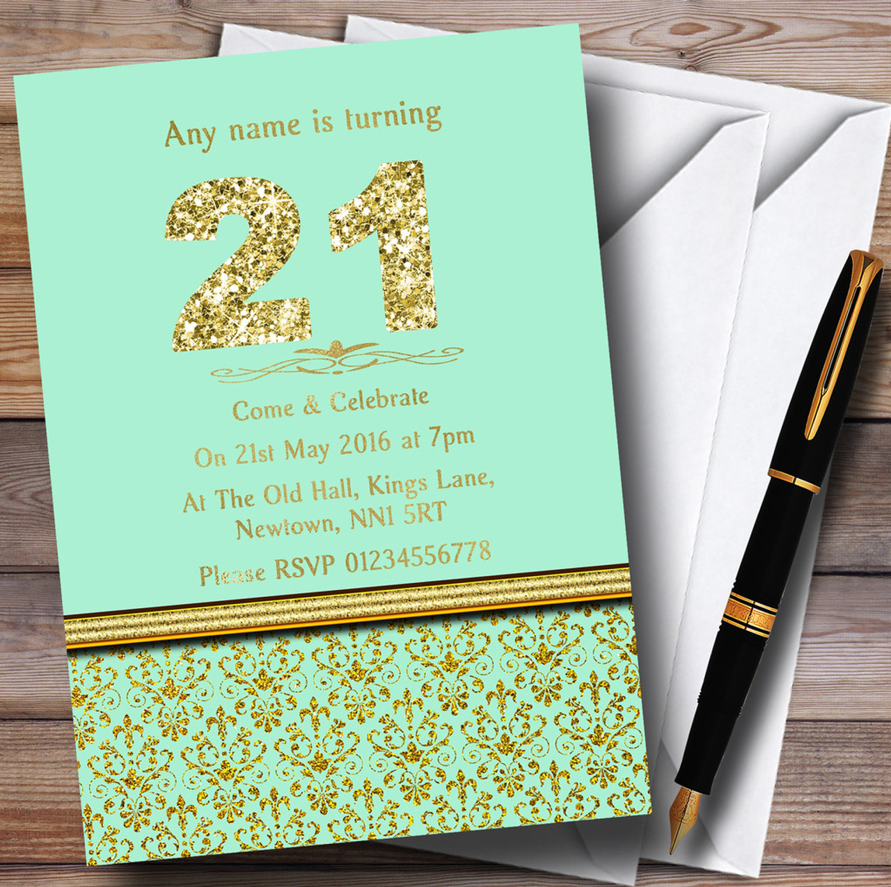 Mint Green & Gold Vintage Damask 21St Personalised Birthday Party ...