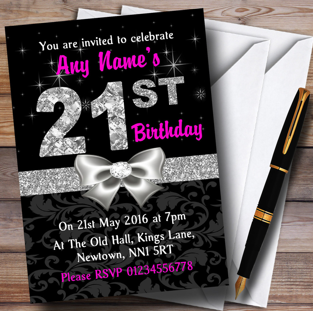 Pink Black Silver Diamond 21St Birthday Party Personalised ...