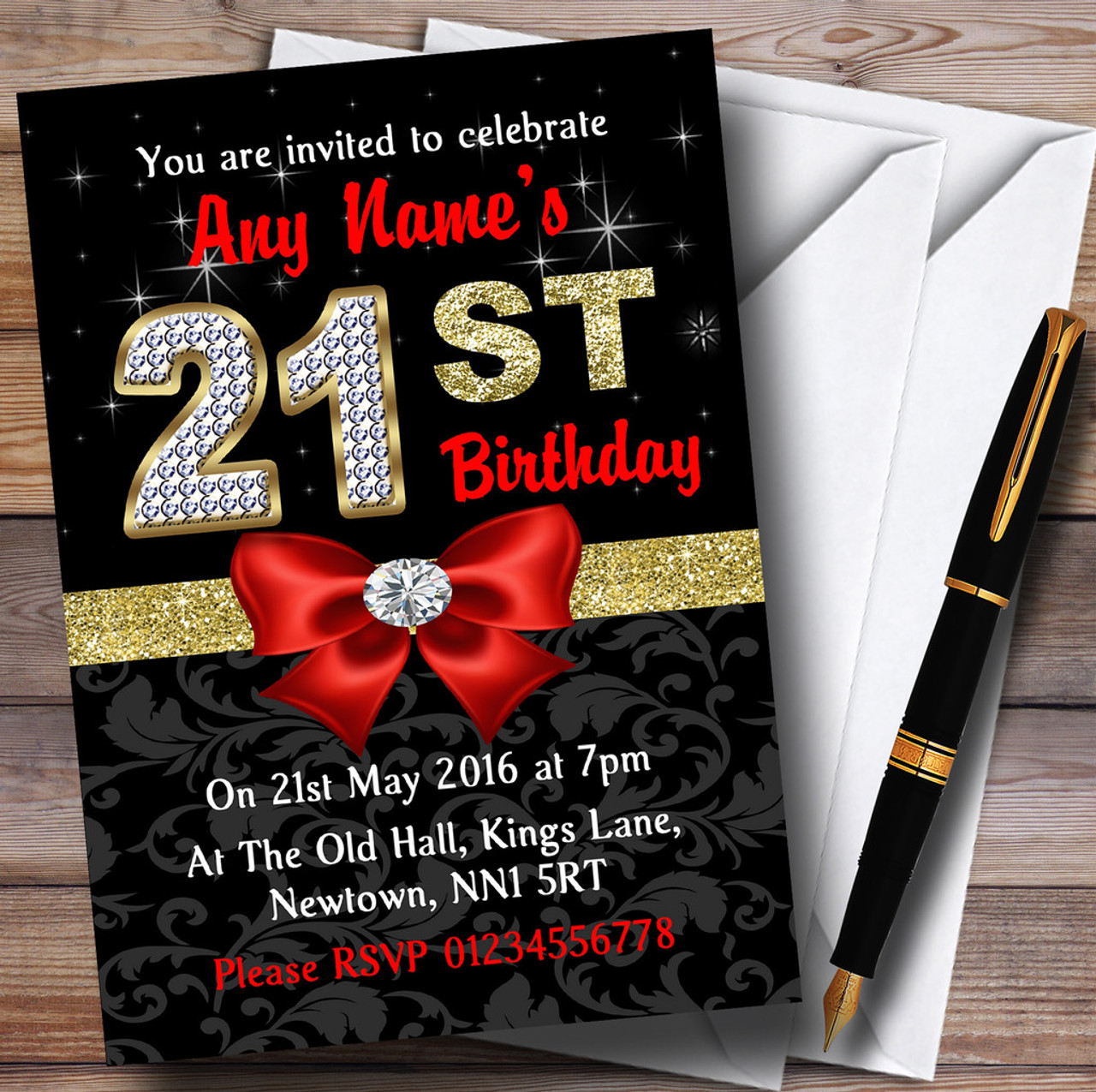 Red Black Gold Diamond 21St Birthday Party Personalised Invitations ...