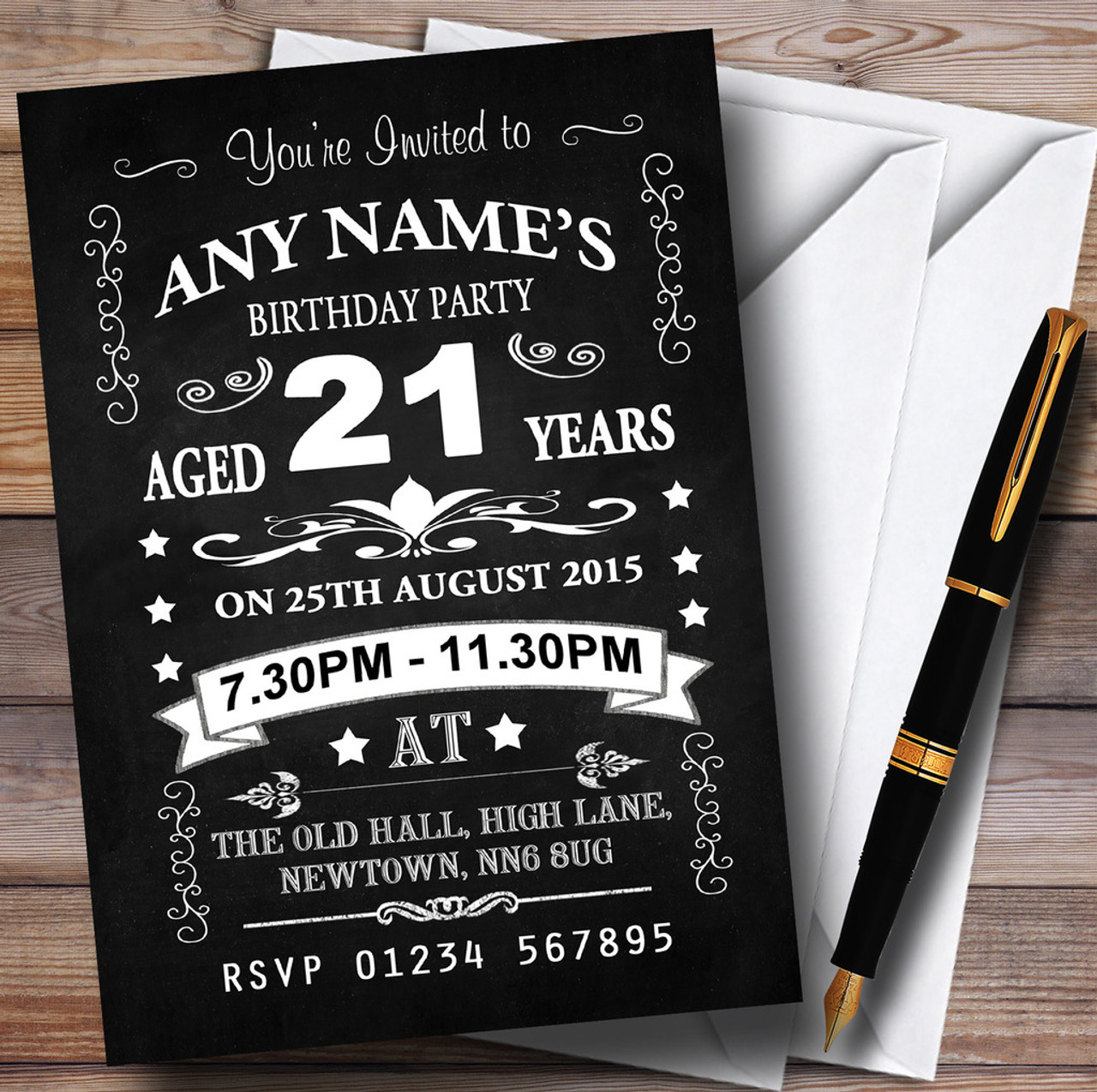 Vintage Chalkboard Style Black And White 21St Birthday Party ...