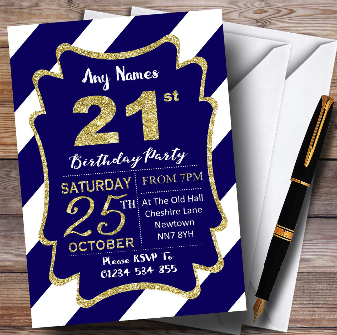 Blue White Diagonal Stripes Gold 21st Personalised Birthday Party ...