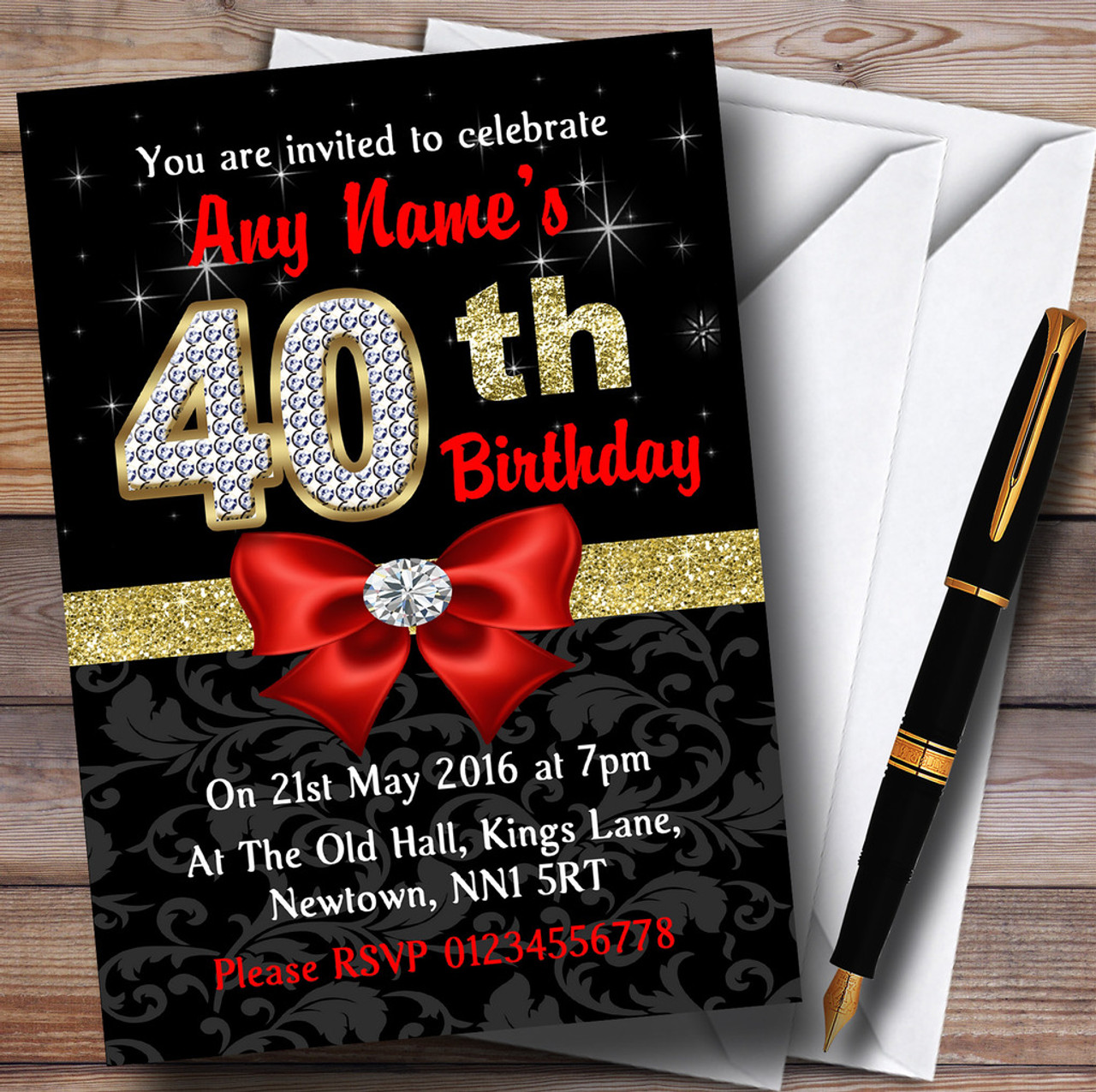 Red Black Gold Diamond 40Th Birthday Party Personalised Invitations