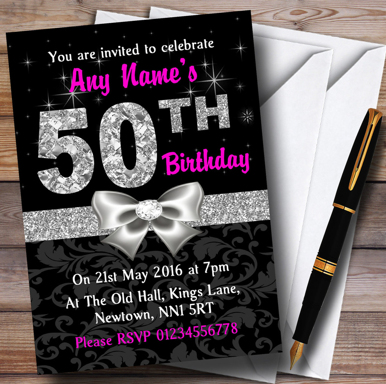 Pink Black Silver Diamond 50Th Birthday Party Personalised ...