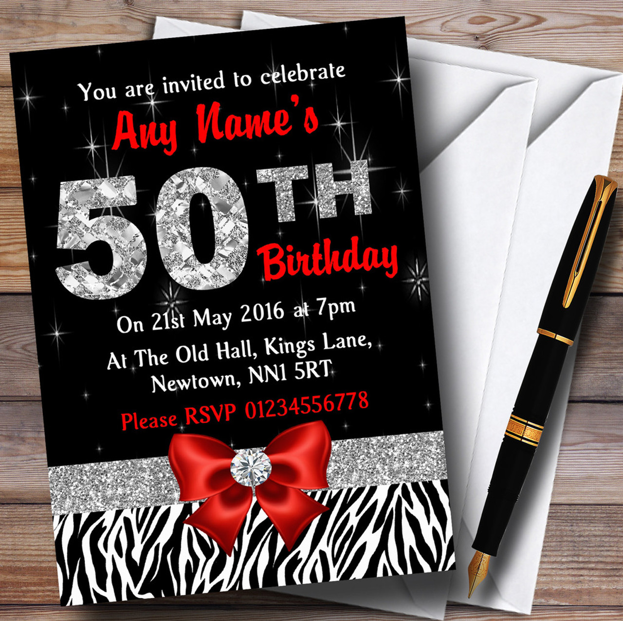 Red Diamond And Zebra Print 50Th Birthday Party Personalised ...