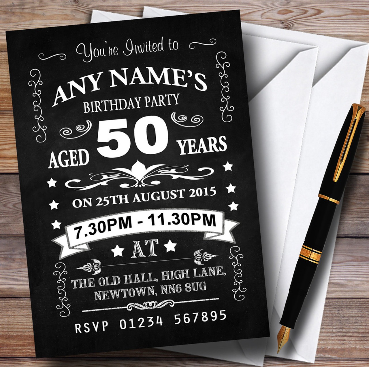 Vintage Chalkboard Style Black And White 50Th Birthday Party ...