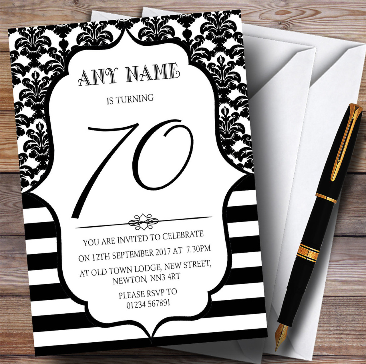Vintage Damask Black & White 70th Personalised Birthday Party ...