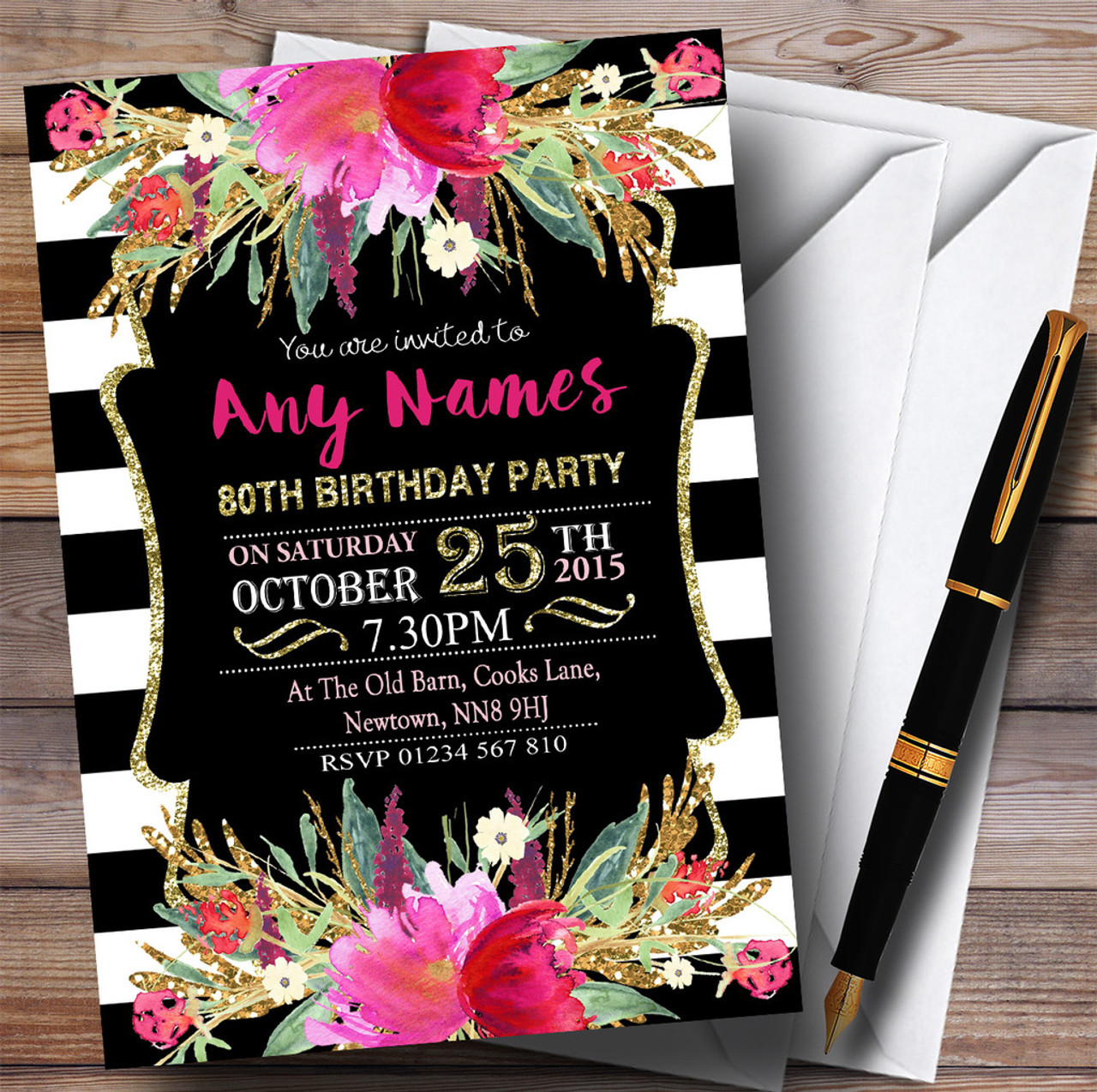 Pink black white striped floral 80th personalised birthday party pink black white striped floral 80th personalised birthday party invitations filmwisefo