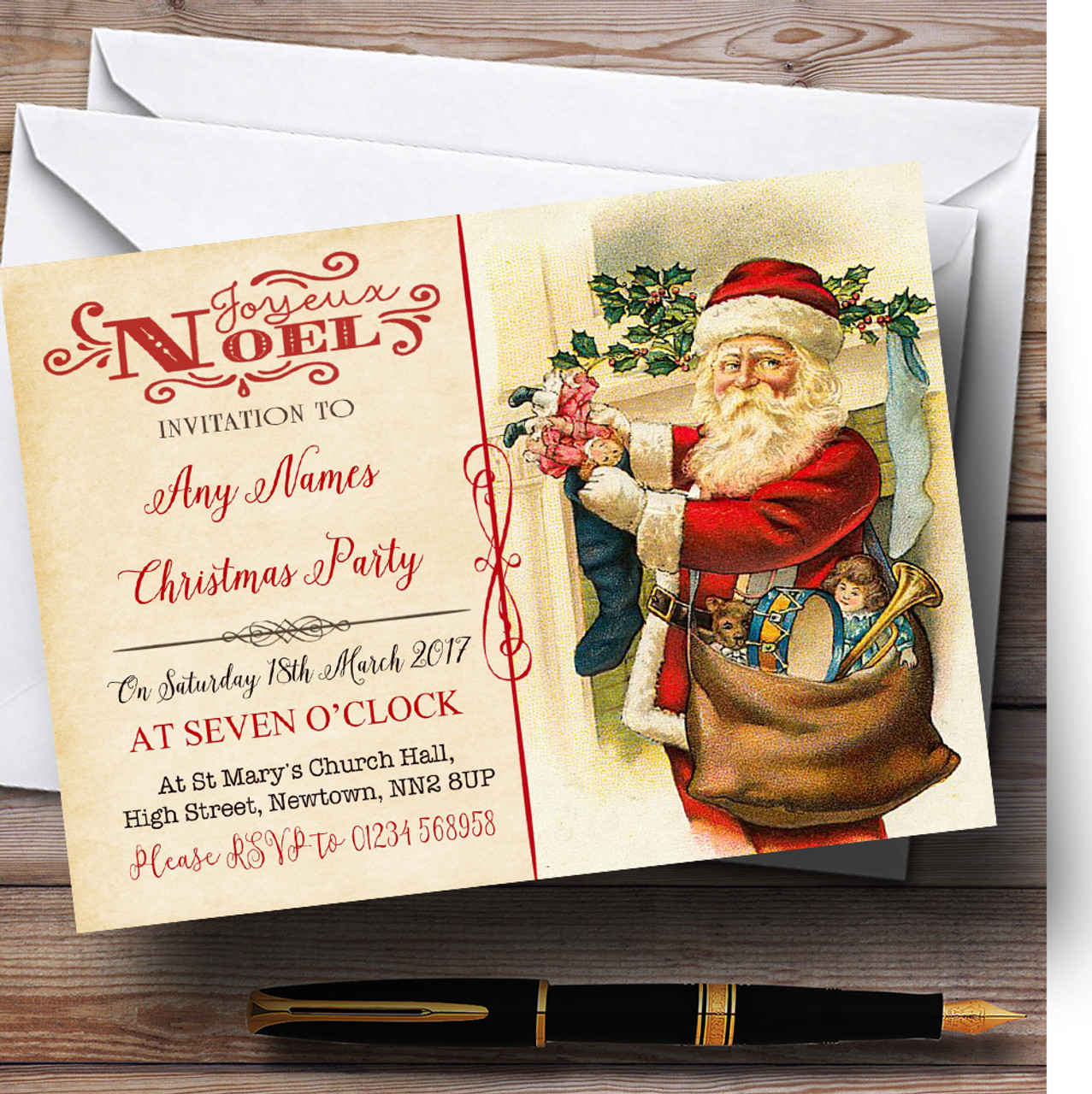 Noel Vintage Postcard Father Christmas Personalised Christmas Party ...