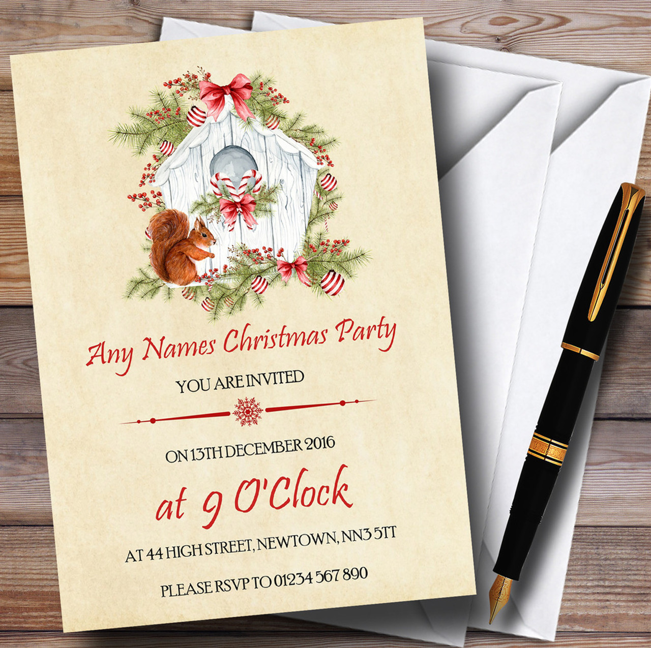 Pretty Vintage Squirrel Personalised Christmas Party Invitations ...