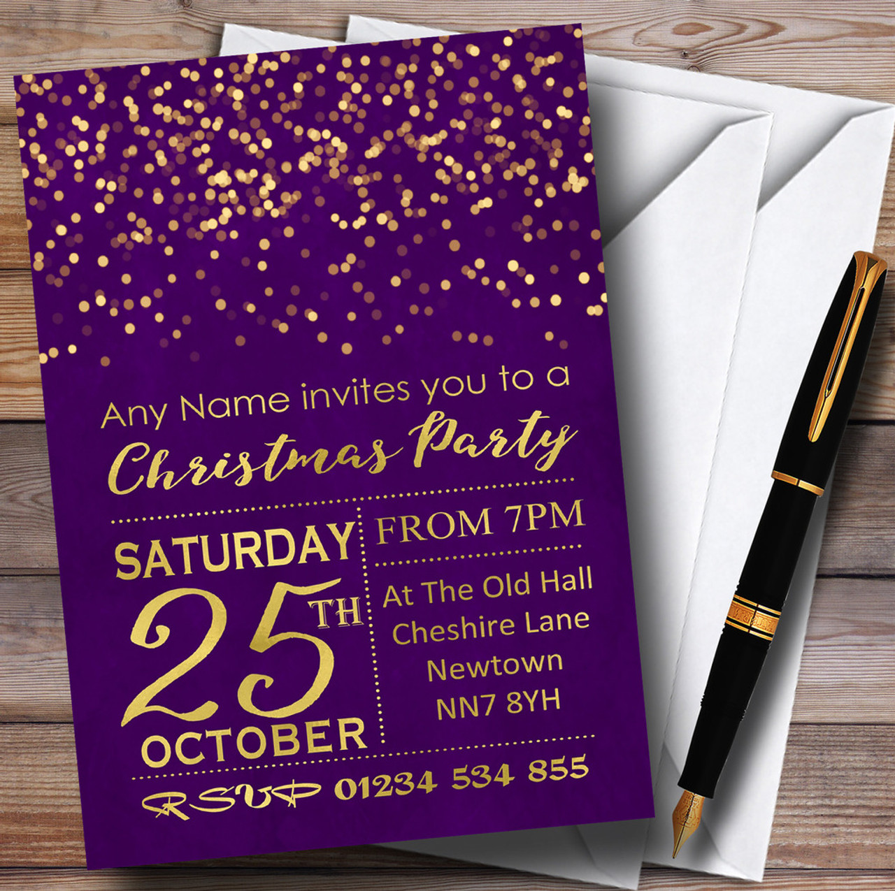 purple with gold confetti personalised christmas party invitations