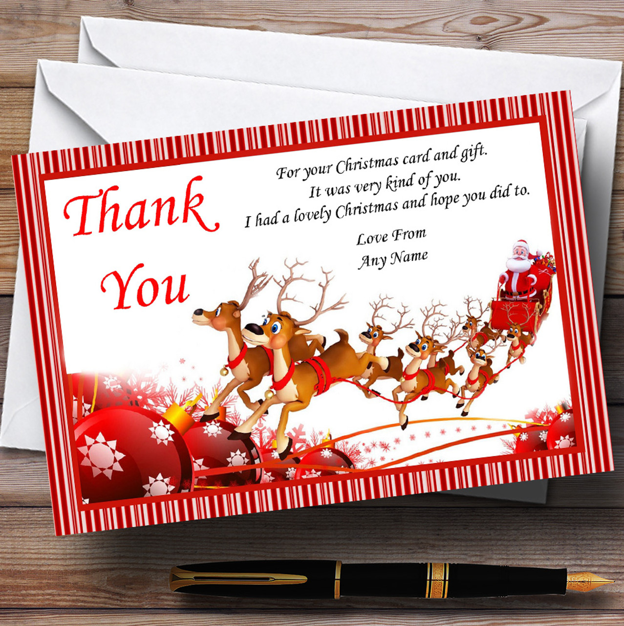 Candy Stripe Santa Sleigh Personalised Christmas Party Thank You