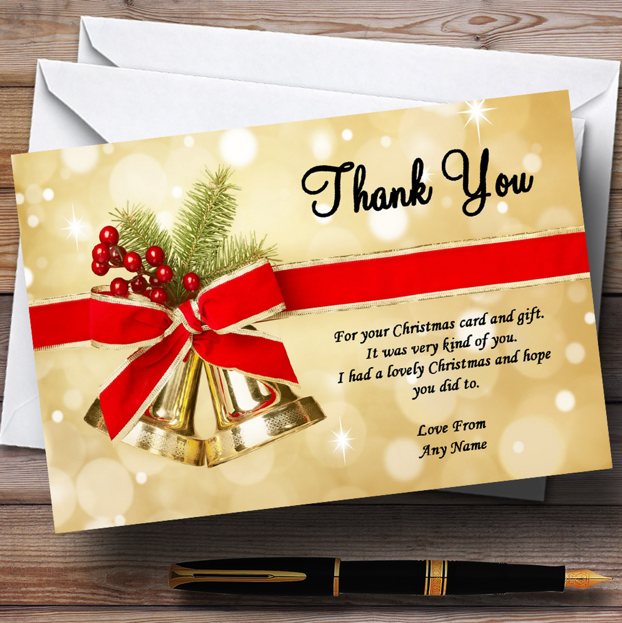Golden Bells Personalised Christmas Party Thank You Cards The Card Zoo