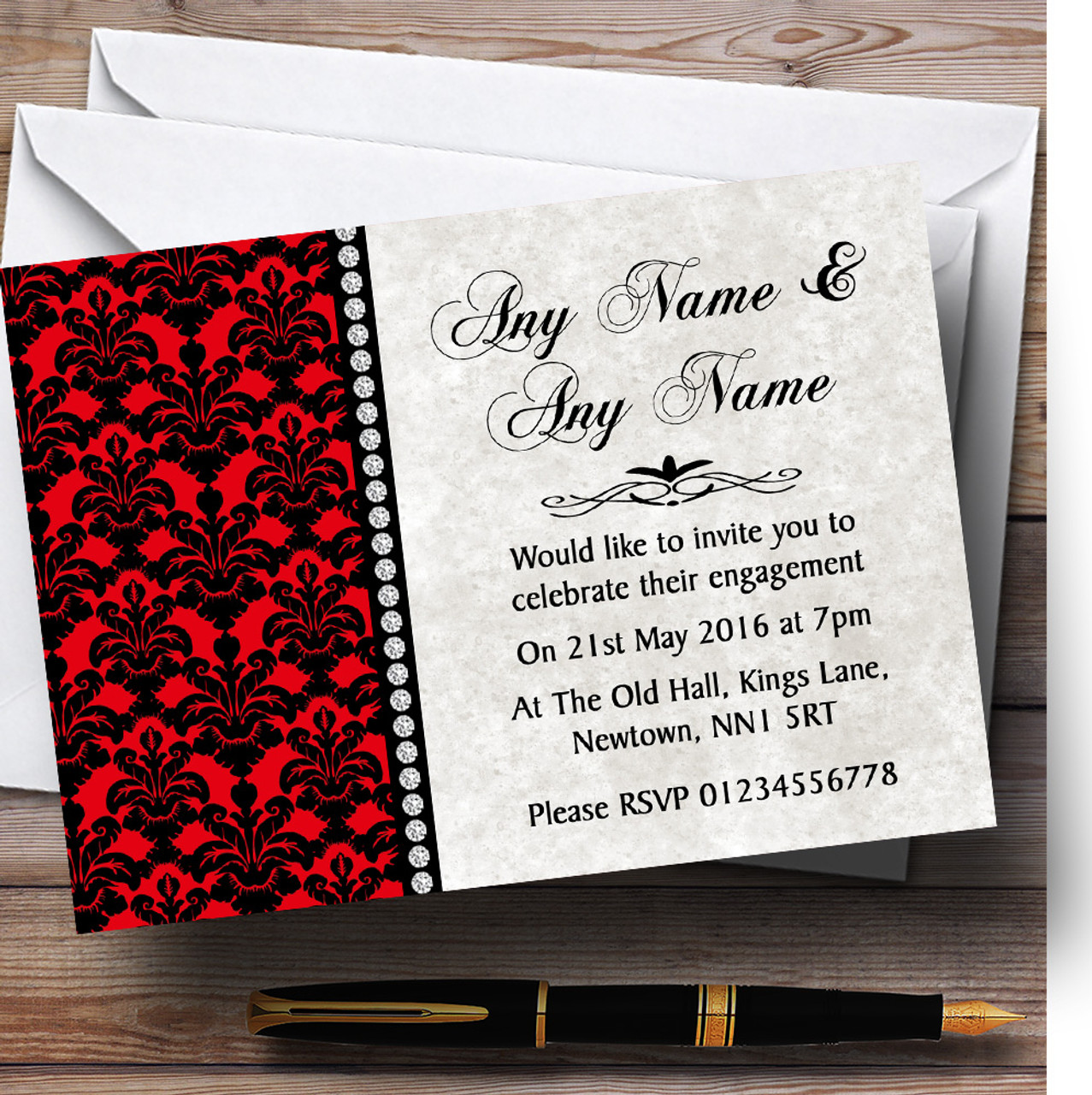Deep Red Black Damask & Diamond Personalised Engagement Party ...