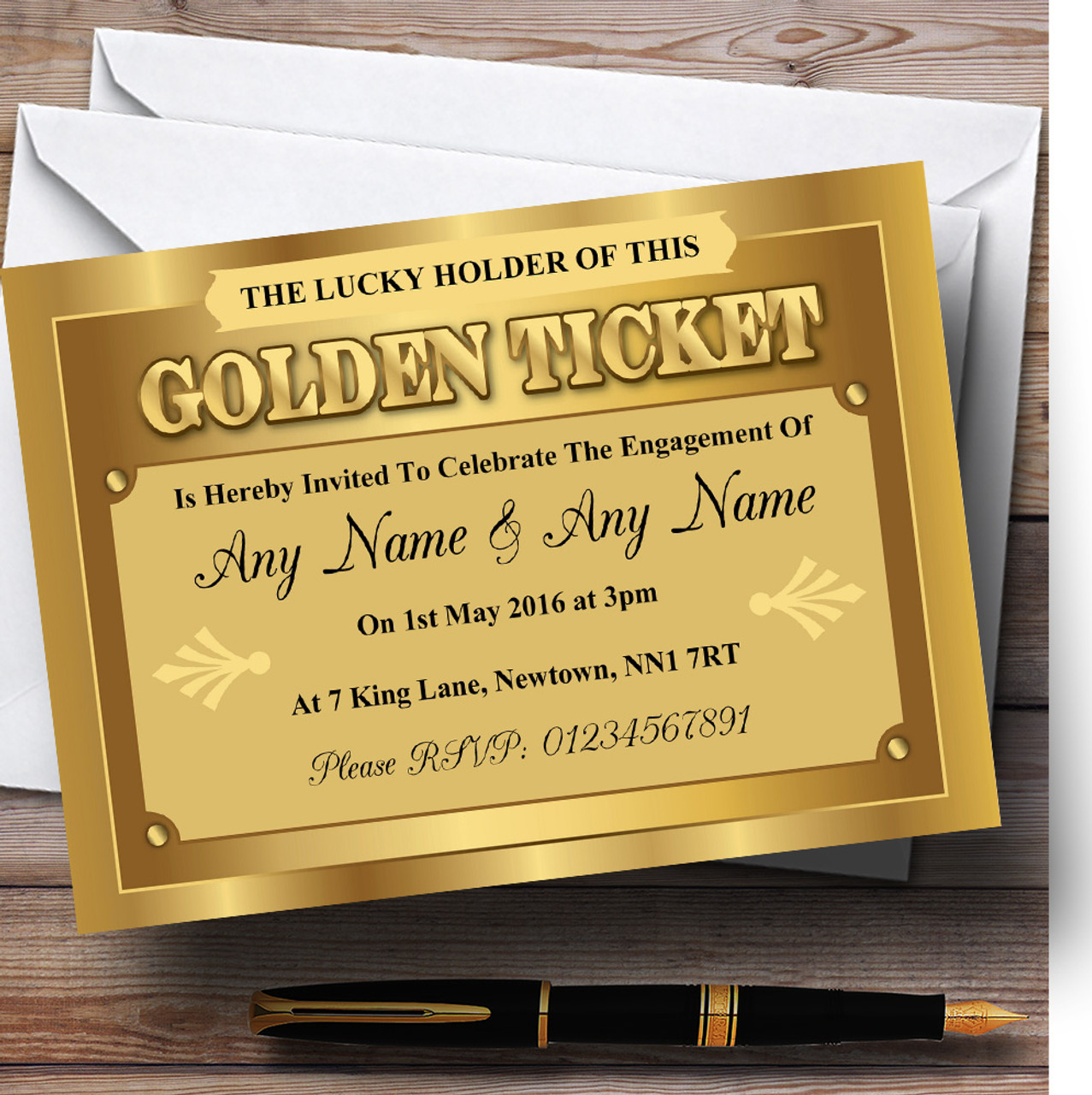 Golden Ticket Personalised Engagement Party Invitations - The Card Zoo