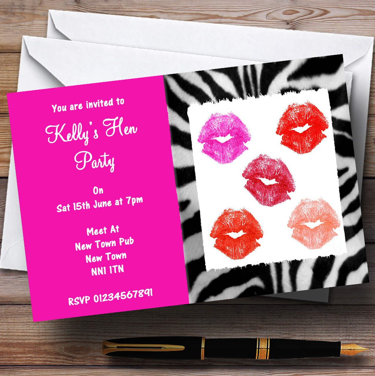 Hen Lipstick Kisses Makeover Hen Personalised Hen Do Night Party ...