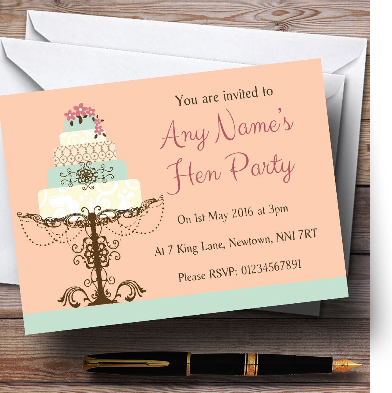 Classical Cake Beautiful Personalised Hen Party Invitations - The ...