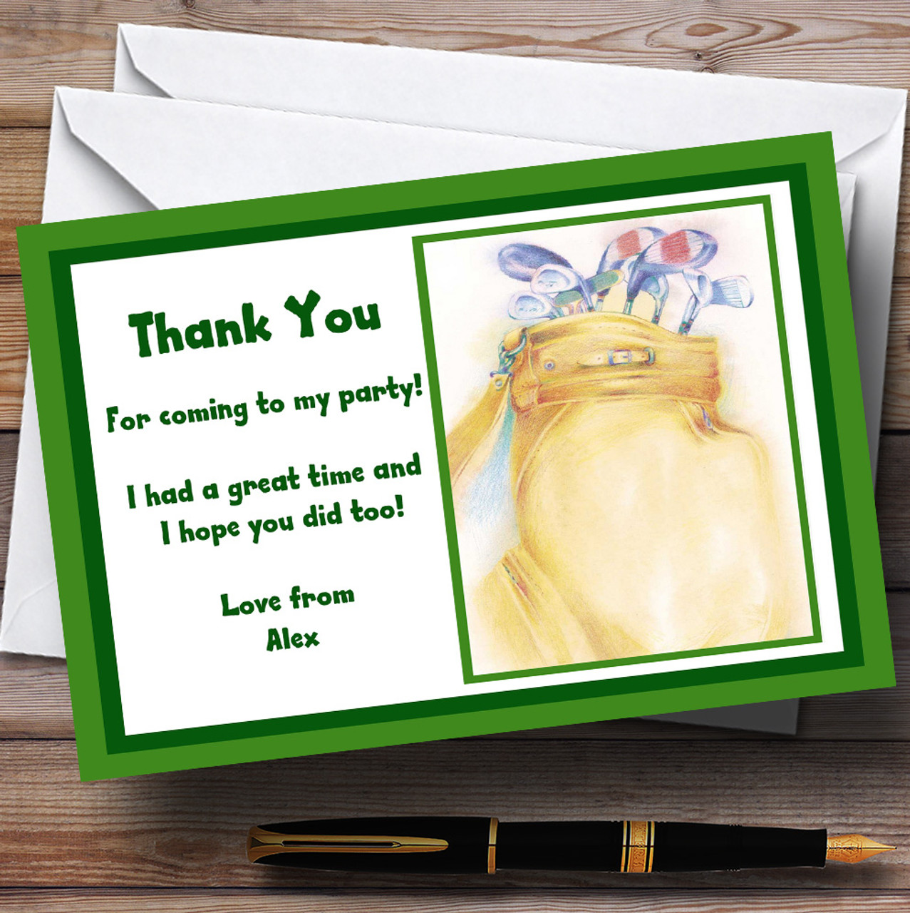 green golfing golf personalised party thank you cards the card zoo