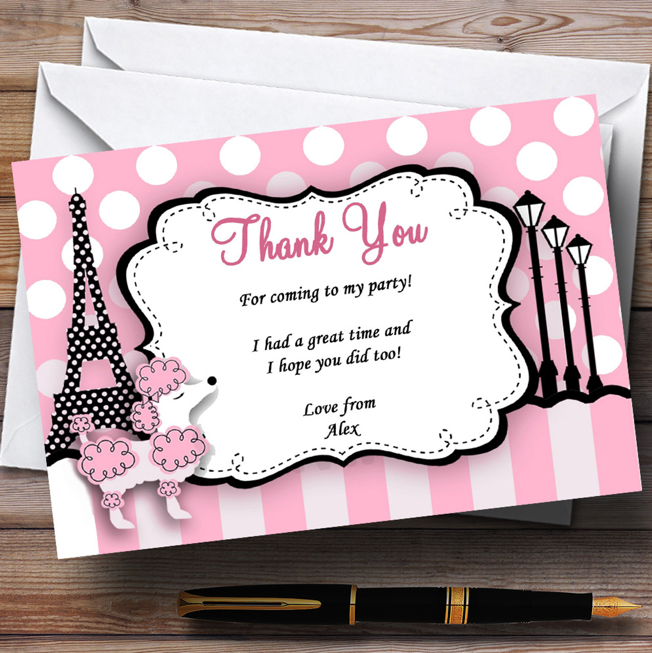 Pink Poodle Paris Personalised Birthday Party Thank You Cards - The ...