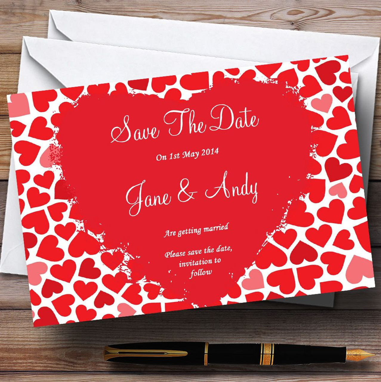 Red And Pink Romantic Hearts Personalised Wedding Save The Date ...