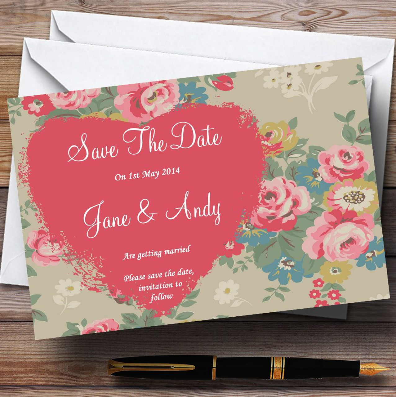 Cath Kidston Inspired Vintage Personalised Wedding Save The Date ...