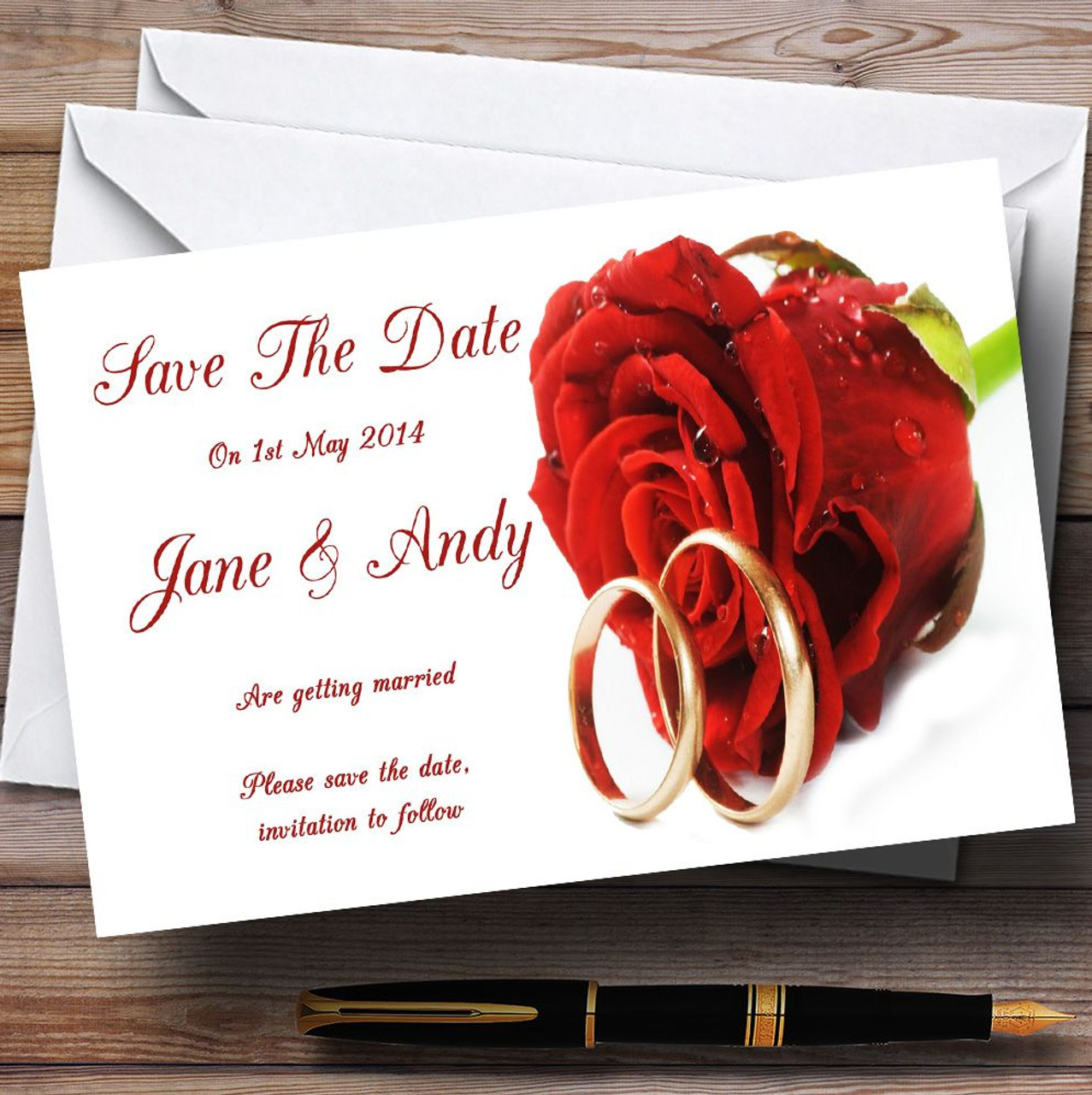 Red Romantic Rose Wedding Rings Personalised Wedding Save The Date ...