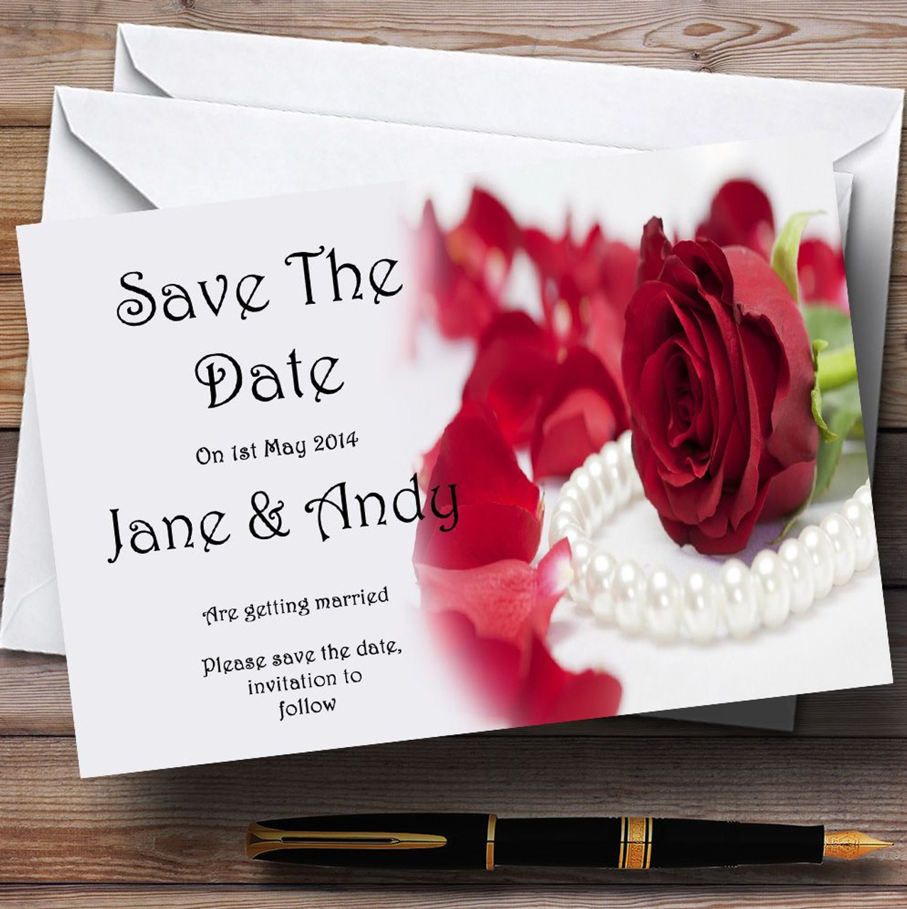 White Pearl Red Rose Personalised Wedding Save The Date Cards - The ...