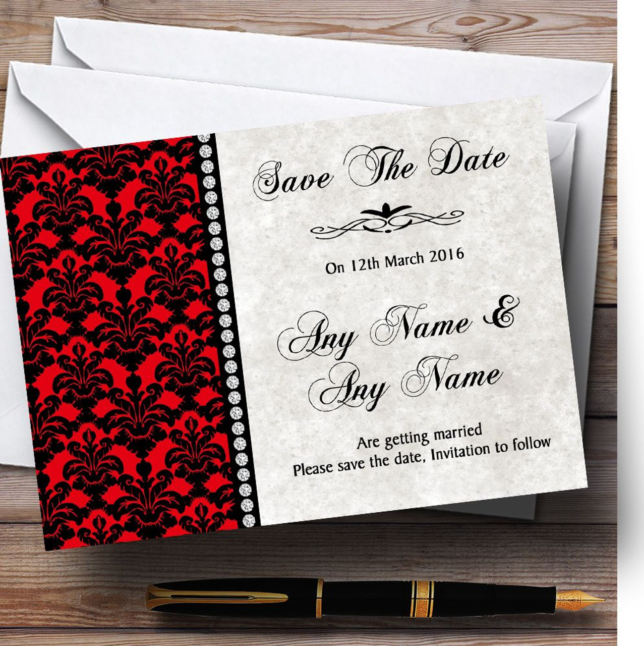 Deep Red Black Damask & Diamond Personalised Wedding Save The Date ...