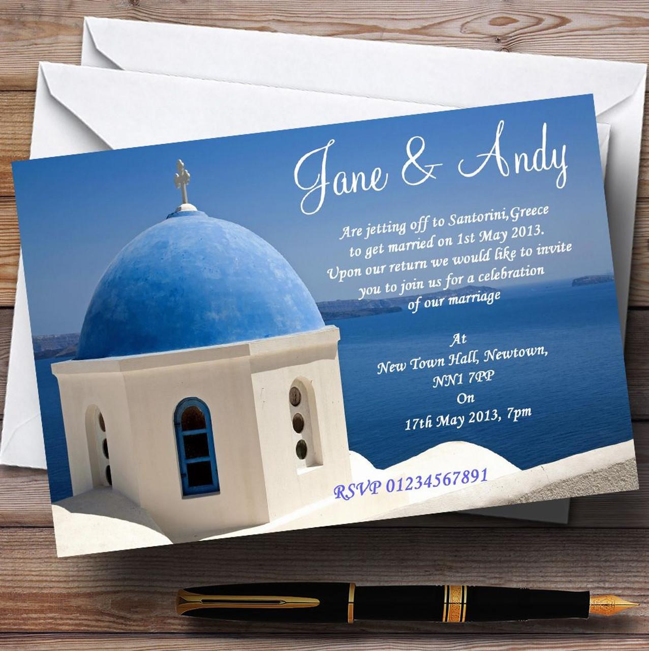 Santorini Greece Jetting Off Abroad Personalised Wedding Invitations ...