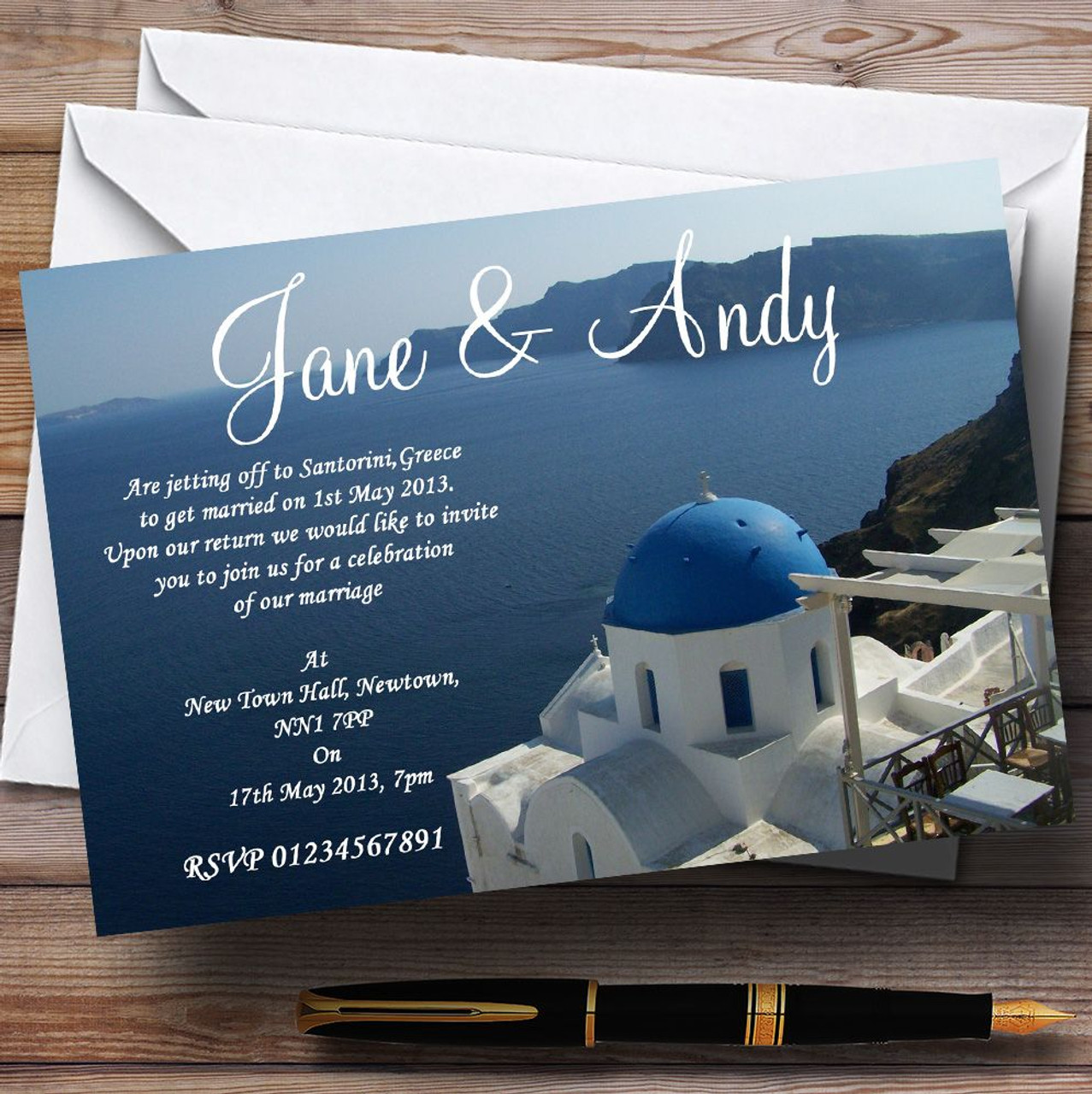 Greece Santorini Sea Jetting Off Abroad Personalised Wedding ...