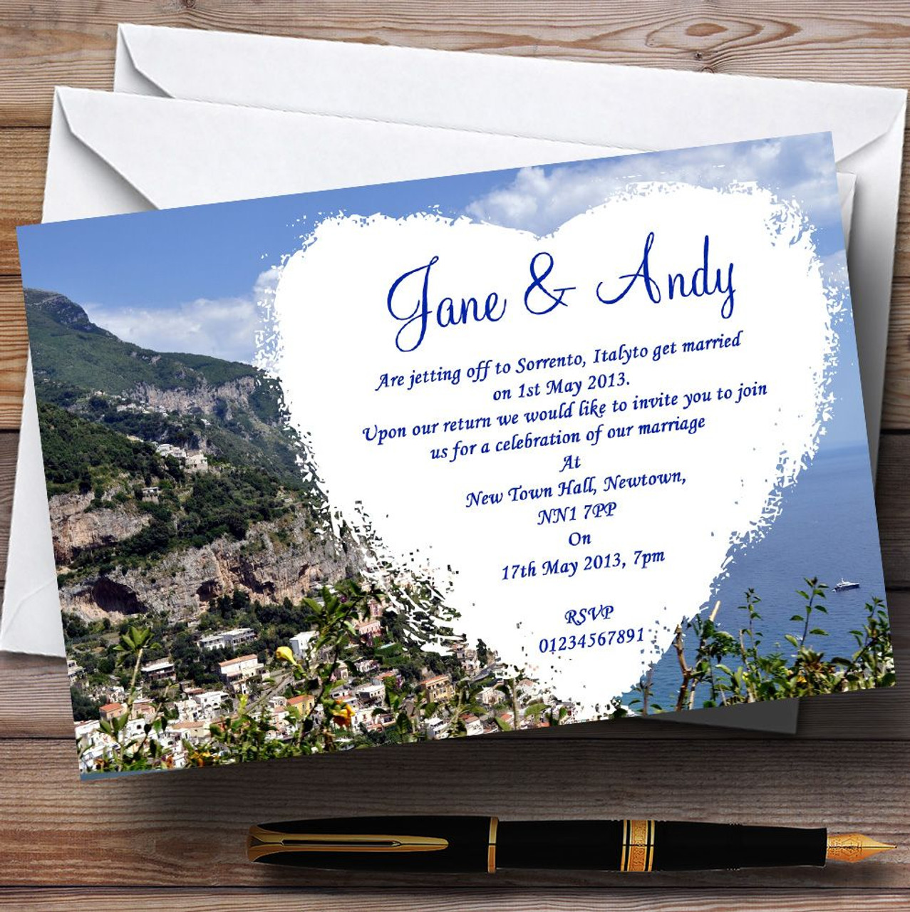 Italy Sorrento Jetting Off Abroad Personalised Wedding Invitations ...