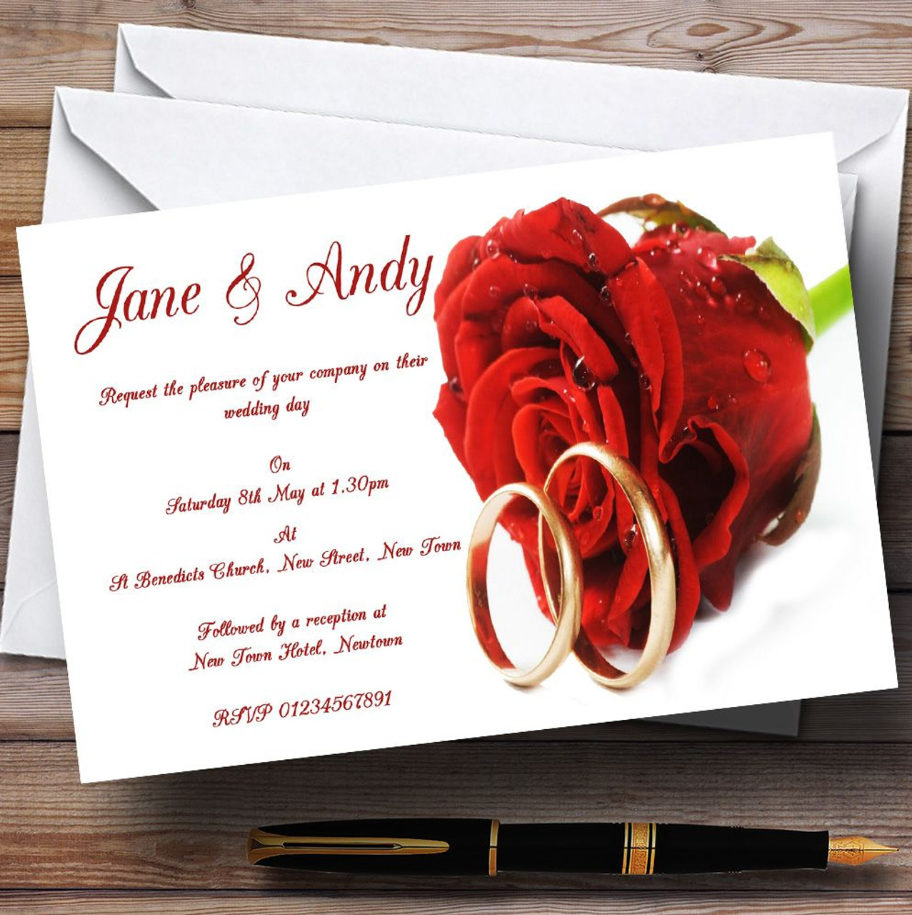 Red Romantic Rose Wedding Rings Personalised Wedding Invitations ...