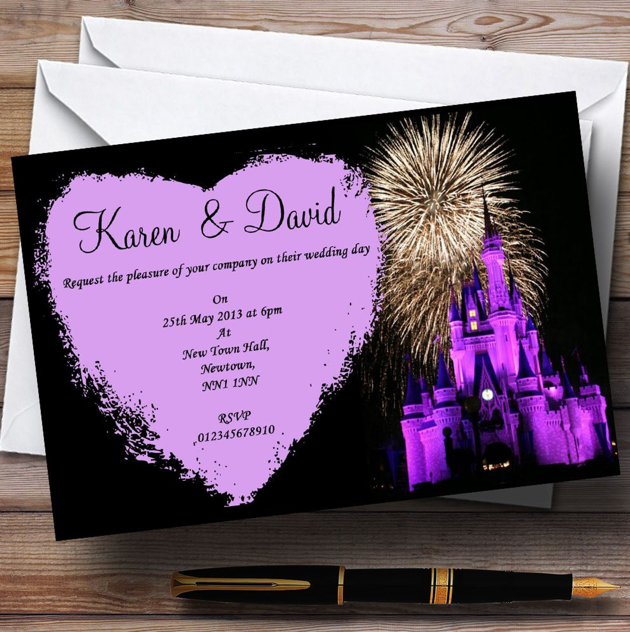Disney Castle Fireworks Personalised Wedding Invitations - The Card Zoo