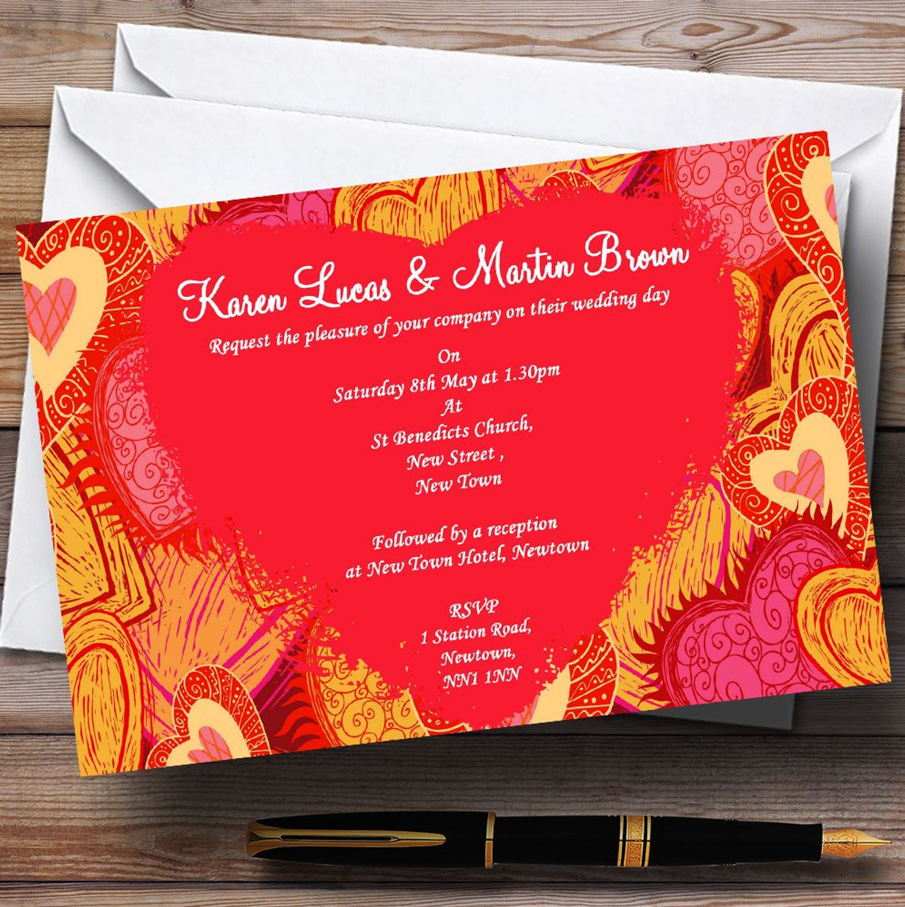 Orange Red And Pink Hearts Personalised Wedding Invitations - The ...