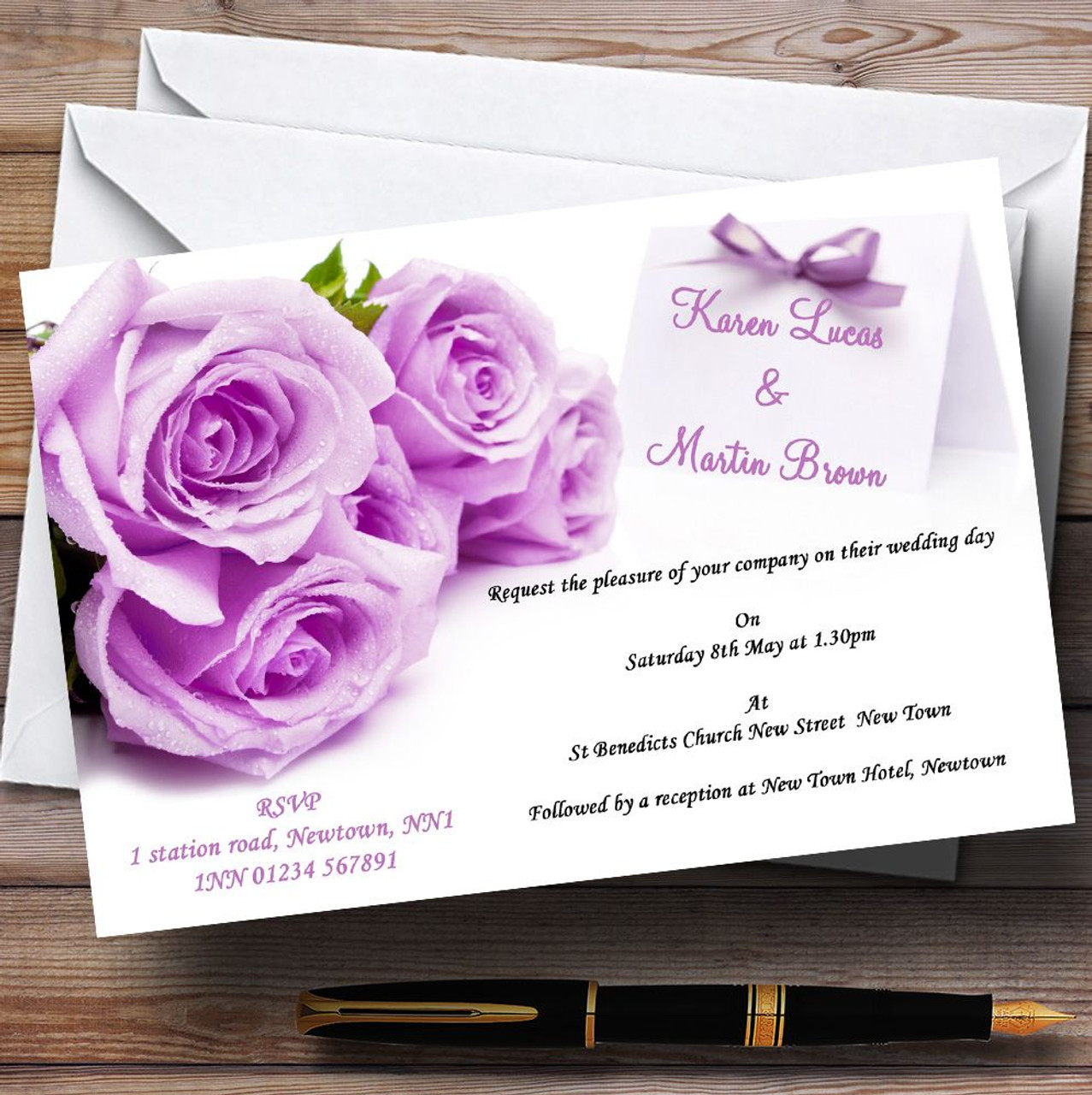 Beautiful Lilac / Purple Rose Personalised Wedding Invitations - The ...