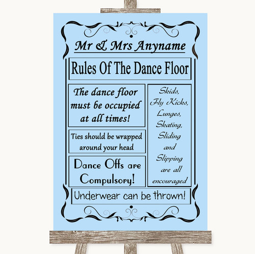Blue Rules Of The Dancefloor Personalised Wedding Sign