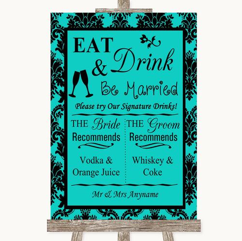 Turquoise Damask Signature Favourite Drinks Personalised Wedding Sign