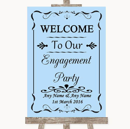 Blue Welcome To Our Engagement Party Personalised Wedding Sign